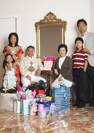 three generation: Portrait of Family with Shopping Bags
