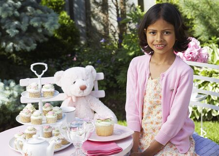 afternoon fancy cake: Girl at Tea Party