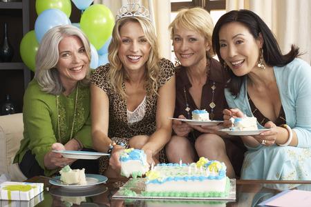 family sofa: Women with Birthday Cake