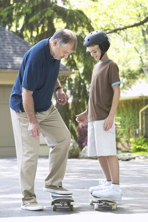 grampa: Grandfather and Grandson with Skateboard