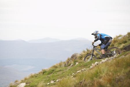 Man Mountain Biking down Hill, Aonach Mor, Scotland