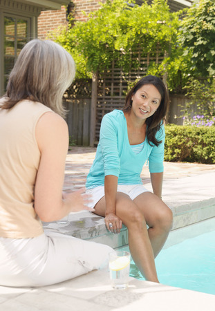 luxurious: Women Sitting at Side of Pool