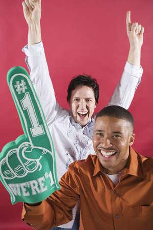 Men Cheering with Foam Finger