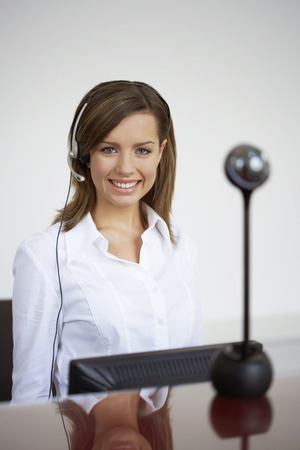 front desk: Portrait of Receptionist