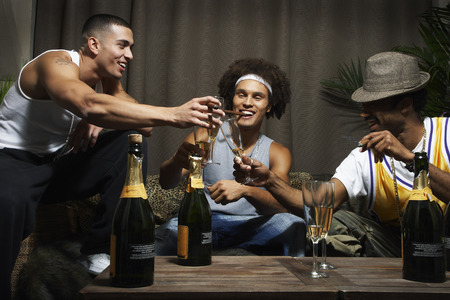 luxurious: Friends Toasting with Champagne Glasses