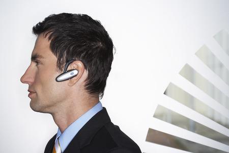 Businessman Wearing Bluetooth Headset