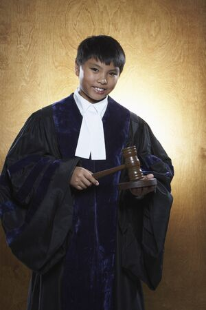 wood panelled: Boy Dressed as Judge
