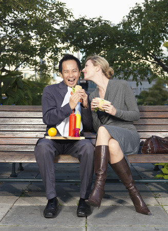 goodluck: People Eating Lunch on Park Bench