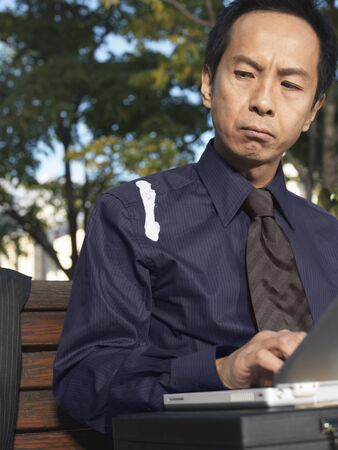 perturbed: Man on Park Bench Using Laptop Computer
