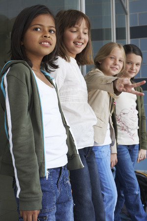 window view: Group of Girls at School