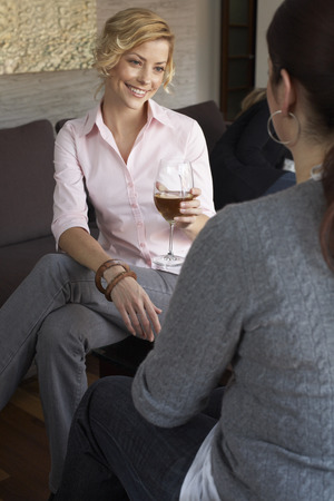 family sofa: Woman Drinking Wine with Friends