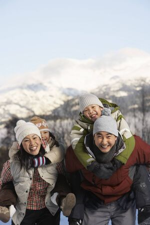 Portrait of Family in Winter, Whistler, British Columbia, Canada