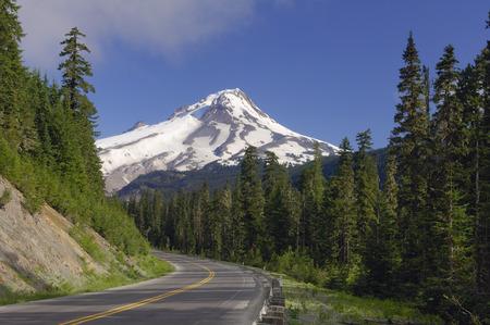 mt hood: Road Through Forest and Mount Hood, Oregon, USA LANG_EVOIMAGES