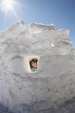 Child Building Snow Fort