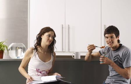 counter top: Couple in Kitchen