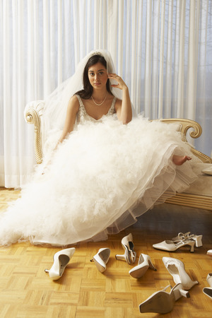 comparable: Woman in Bridal Boutique Trying on Shoes
