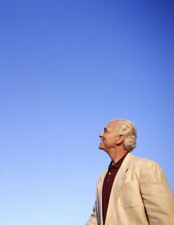 goodluck: Portrait of Man Looking up to the Sky