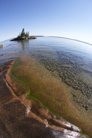 provincial tourist area: Island and Rocky Shoreline, Rainbow Falls Provincial Park, Lake Superior, Ontario, Canada LANG_EVOIMAGES