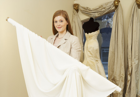 salespeople: Portrait of Woman in Bridal Boutique