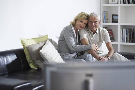 family sofa: Couple Watching Television LANG_EVOIMAGES