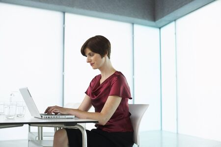 space for type: Woman with Laptop Computer in Boardroom