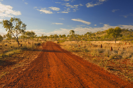 travelled: Dirt Road, Australian Outback, Queensland, Australia