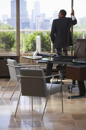window view: Businessman in Office