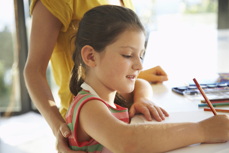 drawing room: Little Girl Drawing with Mother
