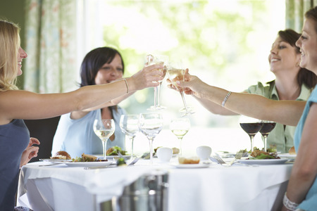 end of a long day: Women Toasting in Restaurant LANG_EVOIMAGES