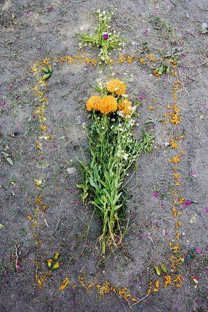 Flowers on Grave Site, San Miguel de Allende, Mexico LANG_EVOIMAGES