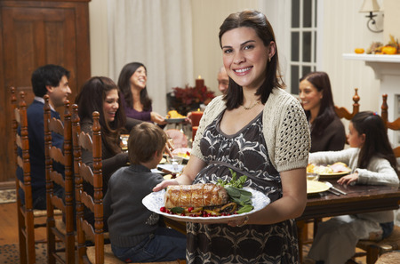 Woman with Food for Family Dinner