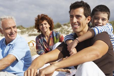 three generation: Family on the Beach
