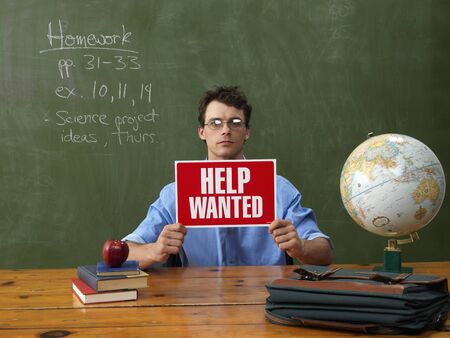vocational high school: Teacher with Help Wanted Sign