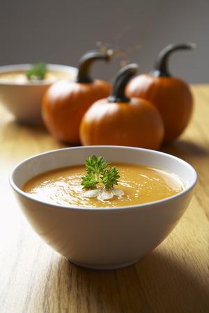 freshly prepared: Bowl of Pumpkin Soup LANG_EVOIMAGES