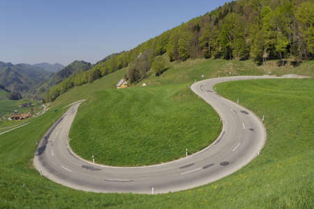 curve road: Mountain Pass, Switzerland