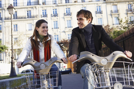 road cycling: People Renting Bicycles, Paris, France