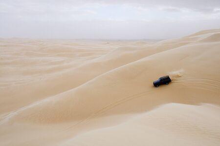Jeep on Sand Dunes, Libyan Desert, Egypt