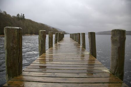 Wooden Dock on Lake Windermere, Cumbria, England