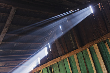 Light Beams in Rustic Building, Sierra Chincua Butterfly Sanctuary, Angangueo, Michoacan, Mexico