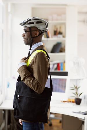 particulate: Businessman in Bicycle Helmet