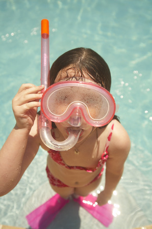 Girl Wearing Snorkel and Goggles