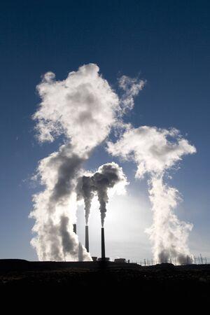 particulate: Two Smoke Stacks, Page, Arizona, USA