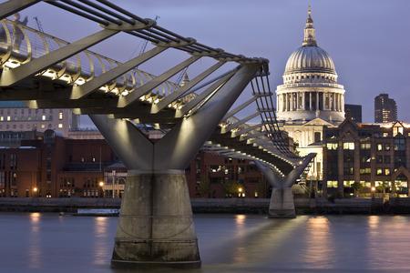 metal structure: Millenium Bridge and Saint Pauls Cathedral, London, England
