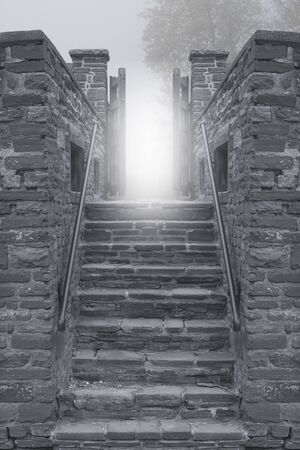Stone Stairs Leading up to a Bright Light