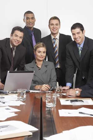 achievment: Group Portrait of Business People in Boardroom