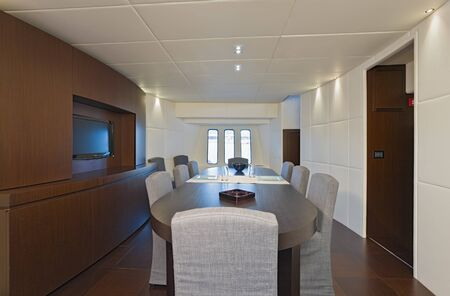 wood panelled: Interior of Dining Room of Luxury Yacht