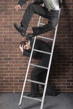 achievment: Businessman Jumping off Ladder