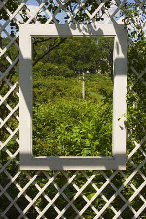 lattice window: Trellis in City Park, Brooklyn Botanic Gardens, Brooklyn, New York City, New York, USA