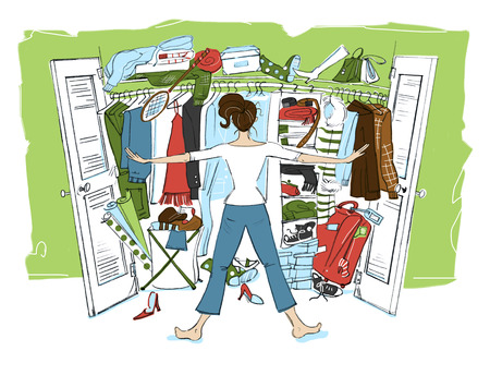 Illustration Of Woman Looking In Cluttered Closet