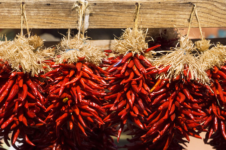 Close-up of Chili Peppers, Sante Fe, New Mexico, USA
